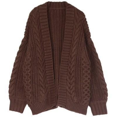 (titivate/ティティベイト)ケーブル編みゆったりカーディガン/レディース ブラウン