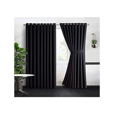 DecoSource - 2 Wall-to-Wall Blackout Grommet Curtains Panels - 108 Inch Lon