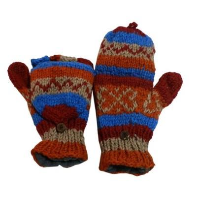 手袋 アジアン衣料 ネパール手編みカバー付き指なし手袋(フリース付)2  クリックポスト選択 送料200円
