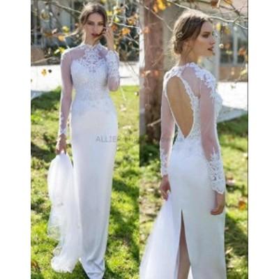 ウェディングドレス WHITE SHEATH LONG SLEEVESハイネックビーズレースサテンウェディングドレスブリッジダウン