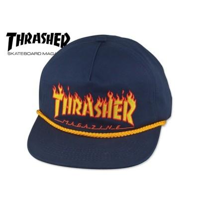 【送料無料】☆THRASHER【スラッシャー】THRASHER LOGO ROPE SNAPBACK CAP NAVY フレーム スナップバック キャップ ネイビー 17002
