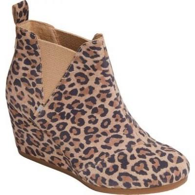 トムス TOMS レディース ブーツ ウェッジソール シューズ・靴 Kelsey Wedge Bootie Desert Tan Leopard Print