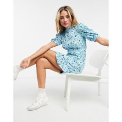 ニュールック レディース ワンピース トップス New Look puff sleeve high neck mini dress in blue floral Blue pattern