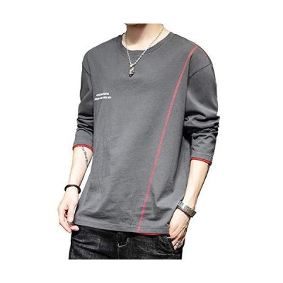 ZUCZUG tシャツ メンズ 長袖 無地 丸首 カットソー おしゃれ カジュアル トップス 快適な 綿100% 秋服 灰 XXXL