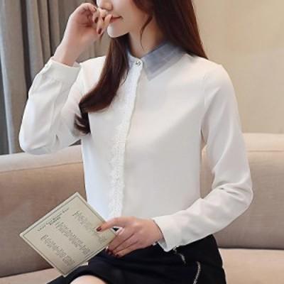 レディース シフォン シャツ ブラウス ロングシャツ 長袖 トップス カジュアル キュート S M L XL 2XL 大きいサイズ 送料無料