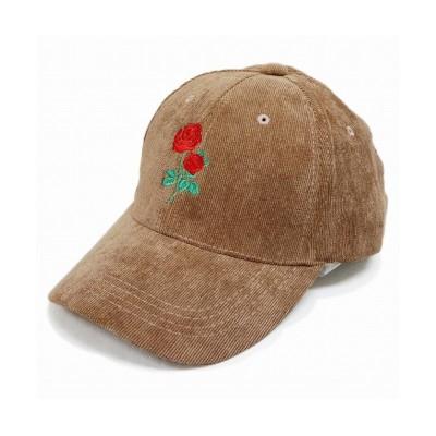 【キーズ】 帽子 キャップ コーデュロイ メンズ レディース ベースボールキャップ ローズ 刺繍 春 秋 冬 キーズ Keys ユニセックス ブラウン フリー Keys