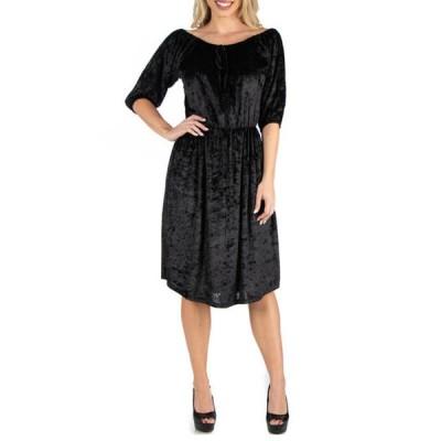24セブンコンフォート レディース ワンピース トップス Women's Off Shoulder Knee Length Black Velvet Dress