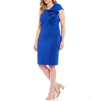エリザジェイ レディース ワンピース トップス Plus Ruffle Detail Sleeveless Sheath Dress Cobalt