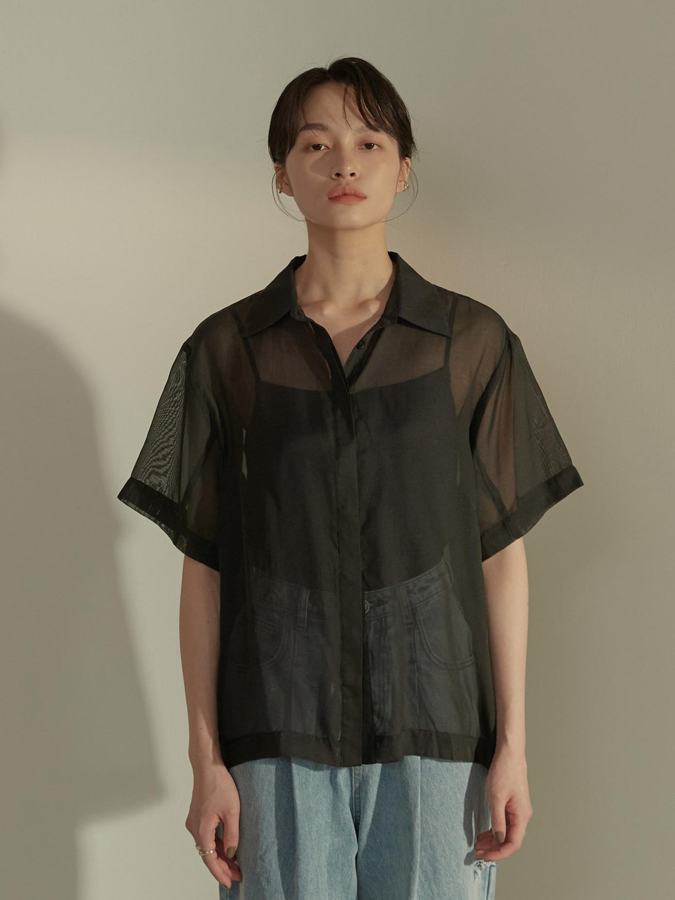 透紗側衩短袖襯衫-mouggan