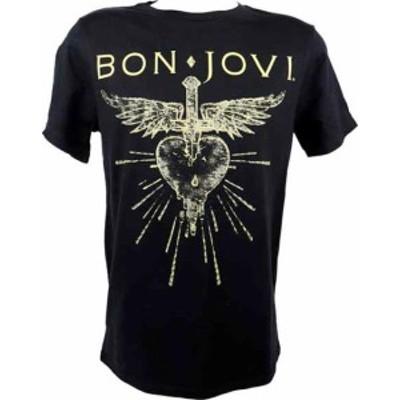 ファッション トップス Bon Jovi-Metallic Print Dagger Heart-Large Black T-shirt