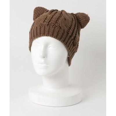 STYLEBLOCK / ケーブル編みねこ耳ニットキャップビーニー WOMEN 帽子 > ニットキャップ/ビーニー