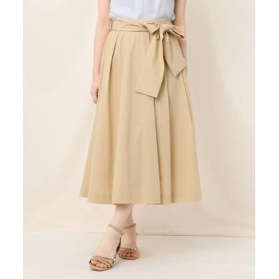 Couture brooch / リボンベルトタックフレアスカート WOMEN スカート > スカート