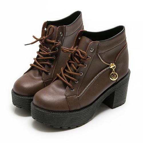 短靴韓版粗跟厚底綁帶踝靴  (MIT)