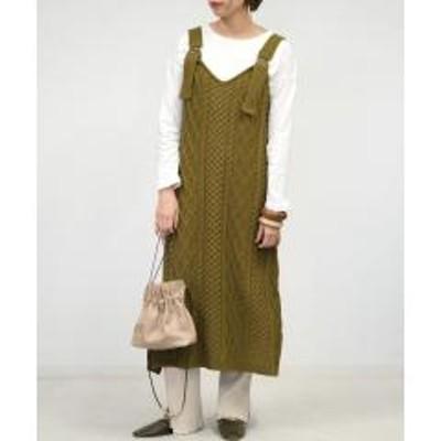 ANDJ(アンドジェイ)ケーブル編みニットジャンパースカート【お取り寄せ商品】