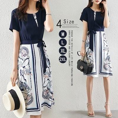 2021年夏の新しいエレガントなファッション偽のツーピースドレスの女性ファッション気質ファッションドレスの女性
