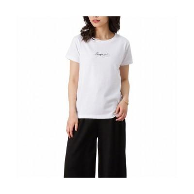 (MAC HOUSE(women)/マックハウス レディース)T-GRAPHICS ティーグラフィックス 筆記体刺繍Tシャツ EJ213-WC198/レディース ホワイト