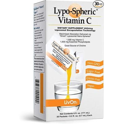 LypoSphericビタミンC  1カートン(30パケット) 1 000 mgビタミンC&1 000 mg必須リン脂質1パケット吸収を改善するためにカプセル化されたリポソーム 100%非G
