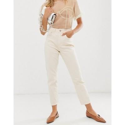 エイソス レディース デニムパンツ ボトムス ASOS DESIGN Farleigh high waist slim mom jeans in Lemon