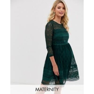 エイソス レディース ワンピース トップス ASOS DESIGN Maternity premium lace mini skater dress Forest green