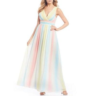 シークインハーツ レディース ワンピース トップス Surplice Rainbow Stripe Chiffon Long Dress