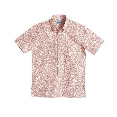 [MAJUN (マジュン)] 国産シャツ かりゆしウェア アロハシャツ 結婚式 メンズ 半袖シャツ ボタンダウン ブロッサムタイル レッド