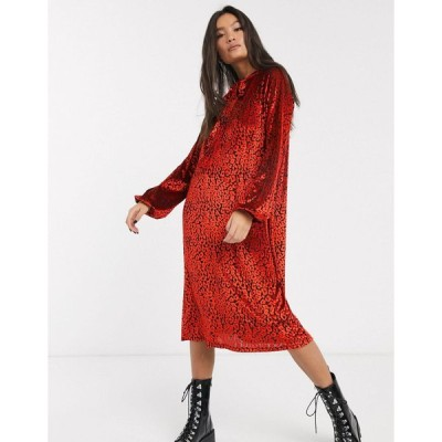 エイソス ミディドレス レディース ASOS DESIGN animal velvet tie neck midi dress in red エイソス ASOS レッド 赤