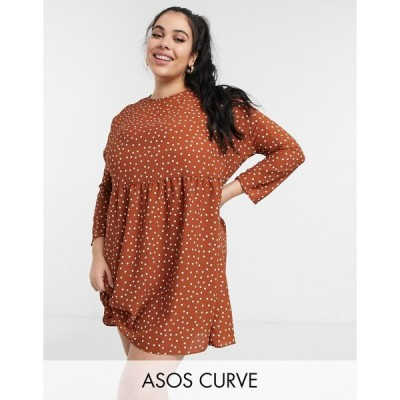 エイソス ドレス 大きいサイズ レディース ASOS DESIGN Curve long sleeve smock mini dress in rust spot エイソス ASOS