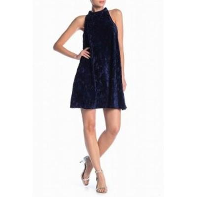 Angie アンジー ファッション ドレス Angie Womens Velvet Navy Blue Size Large L Mock Neck Shift Dress