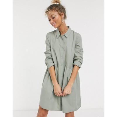 エイソス ミニドレス レディース ASOS DESIGN cotton mini smock shirt dress in khaki エイソス ASOS カーキ