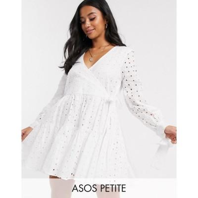 エイソス ミディドレス レディース ASOS DESIGN Petite broderie wrap trapeze tiered mini dress in white エイソス ASOS ホワイト 白