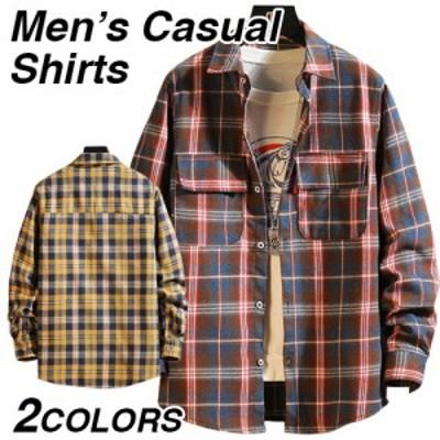 シャツ メンズ 長袖 無地 チェック柄 おしゃれ 長袖シャツ 大きいサイズ トップス 紳士 キレイめ