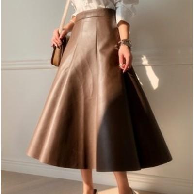 フレアスカート レザースカート PU ミモレ丈 大きいサイズ 秋冬 黒 ブラウン 大人 きれいめ 10代 20代 30代 お出かけ デート 可愛い 上品