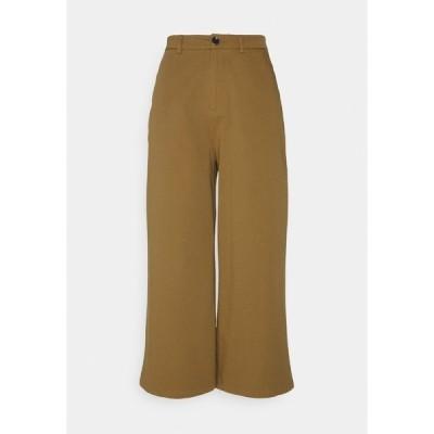 エブンアンドオッド カジュアルパンツ レディース ボトムス Wide cropped leg Chino - Trousers - camel