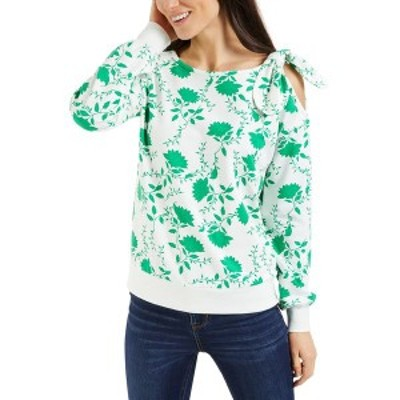 チャータークラブ レディース カットソー トップス Petite Floral-Print Cold-Shoulder Top, Created for Macy's Cloud Combo