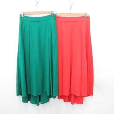 【中古】未使用品 Ladies Fashion 2枚セット スカート ギャザースカート ロング丈 タック オレンジ 緑 9号 レディース