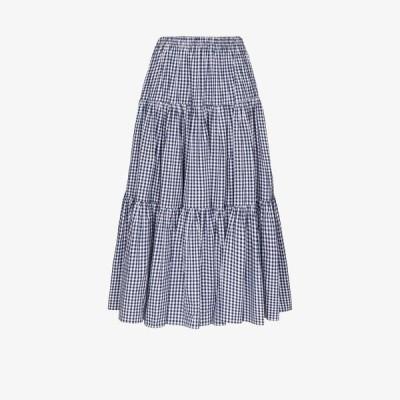 バットシェヴァ Batsheva レディース ロング・マキシ丈スカート スカート Amy check print flared skirt blue
