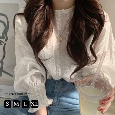 人気のおすすめ特価 韓国ファッションTシャツツ ブラウス 半袖 レースレディース フリル ホワイト