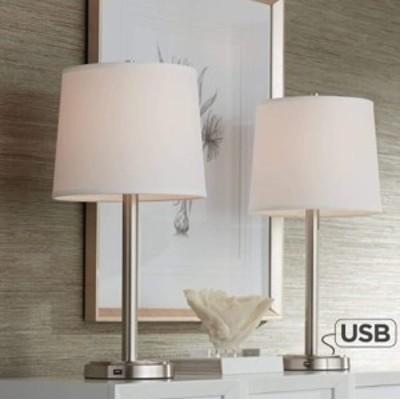 【2個セット】テーブルランプ 照明 ライト USBポート Off White