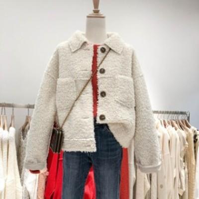 冬新作 ボアブルゾン もこもこ 厚い ブルゾン カジュアル アウター 韓国 ファッション オルチャン レディース ボアコート ボアジャケット