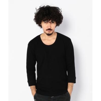 【アヴィレックス】 デイリー 2/3 スリーブ Uネック ティーシャツ/ 2/3 SLEEVE U-NECK T-SHIRT/AVIREX/アヴィレックス メンズ ブラック M AVIREX