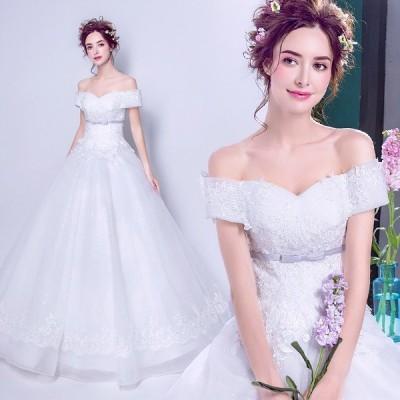 ウエディングドレス サッシュリボン 二次会 ウェディングドレス エンパイア 安い プリンセス 花嫁 結婚式 ブライダル 披露宴 ロングドレス wedding dress