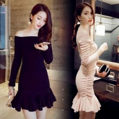 黒 袖あり スレンダーライン パーティードレス ミニドレス ワンピースドレス ワンピース タイトドレス お呼ばれドレス イブニングドレス