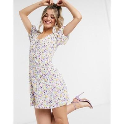 ミスセルフフリッジ レディース ワンピース トップス Miss Selfridge watercolor mini tea dress in multi