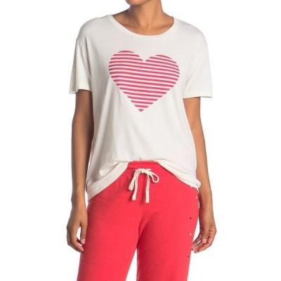 サンドリー レディース Tシャツ トップス Short Sleeve Heart Stripe Loose Tee BONE