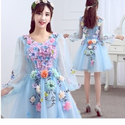 チャイナドレス風 ワンピース パーティードレス 結婚式 二次会 お呼ばれ ワンピース 袖あり お呼ばれドレス ドレス 20代 30代 40代 花柄