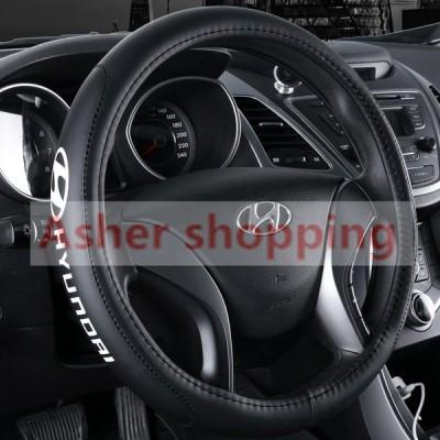 Hyundai 現代 高品質 本革 ステアリングカバー ブラック