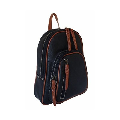 Women's Black and Tan Leather Backpack 並行輸入品