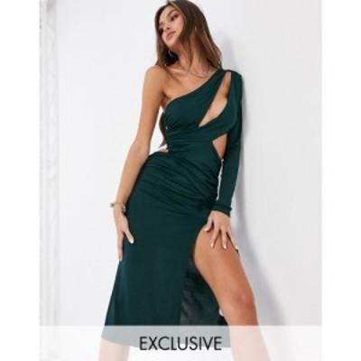 エイス アワー EI8TH HOUR レディース ワンピース Ei8Th Hour Exclusive Slashed One Shoulder Midi Dress With Thigh Split In Emerald