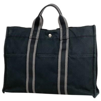 エルメス HERMES フールトゥ MM 通勤鞄 通勤鞄 ハンドバック トートバッグ キャンバス ブラック グレー レディース 【中古】