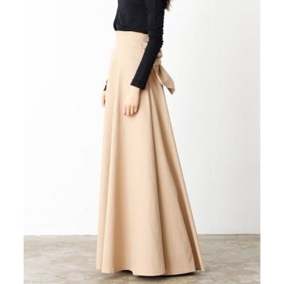 スカート フレアマキシリボンタイスカート